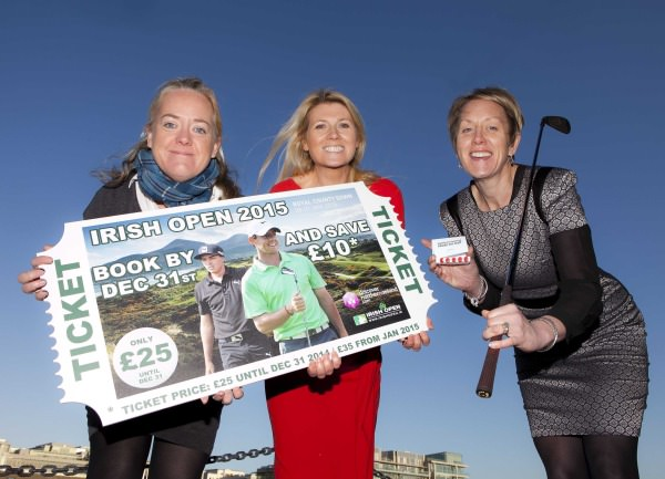 The European Tour's Irish Open Championship Director Antonia Beggs (left) joined NITB's Chief Operating Officer Kathryn Thomson (right) and ROI Market Manager Fiona Cunningham (centre)to urge Irish golf fans to book their tickets early for next year's Irish Open at Royal County Down.