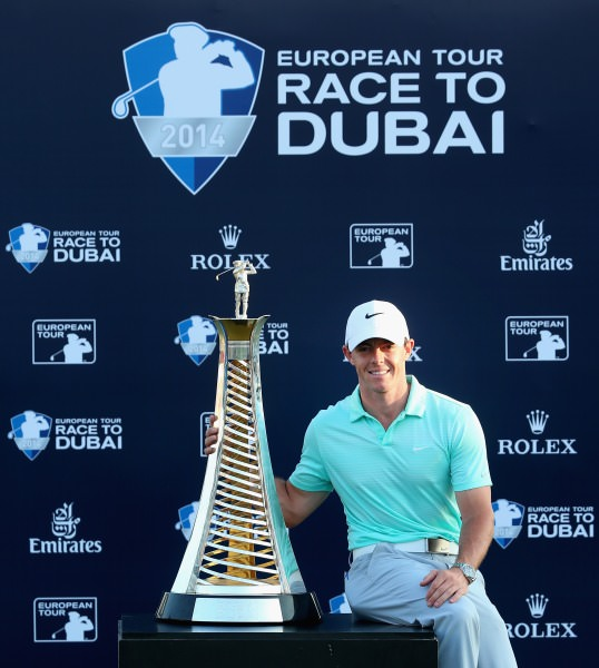 2014   Race to Dubai winner  Rory McIlroy with the Harry Vardon Trophy. Picture © Getty Images