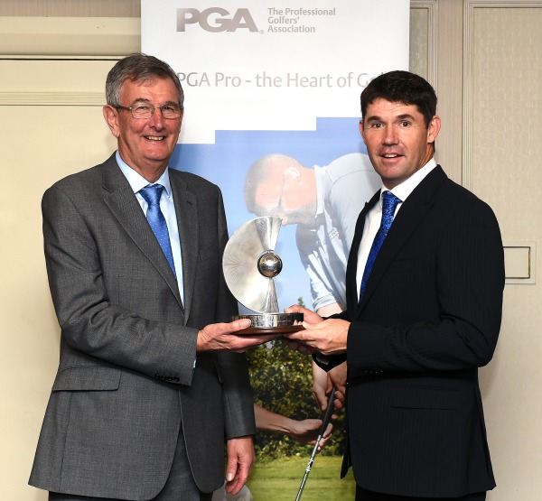 Padraig Harrington receiving the PGA Recognition Award from PGA captain Neil Selwyn-Smith. Image:Tom Dulat /Getty Images
