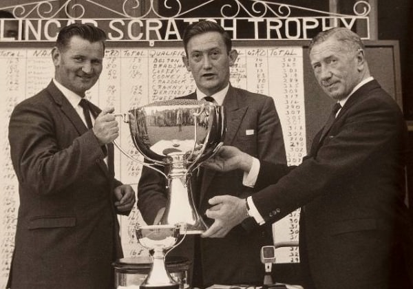 The 1964 Mullingar Scratch Trophy winner, Walker Cup player Tom Craddock, with Ray Macken (captain) and Kevin Whelehan - Picture via  Westmeath Examiner