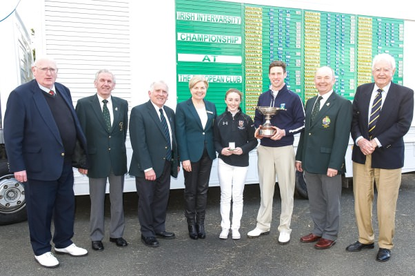 Irish Intervarsity Championship (left to right) Pat Ruddy (President The European Club), Albert Lee (GUI), John Ferriter (Chairman, Leinster Golf), Anne O'Sullivan (ILGU), ladies champion Jessica Ross (Queen's University), men's champion Alex Gleeson (UCD), Michael Connaughton (President GUI), Eddie Fallon (Captain, The European Club).