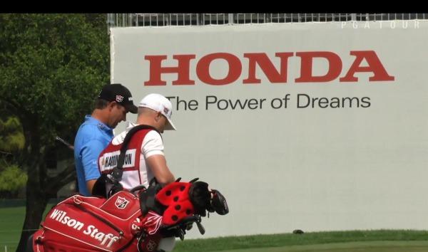 Pádraig Harrington and his caddie, Ronan Flood, at the Honda Classic