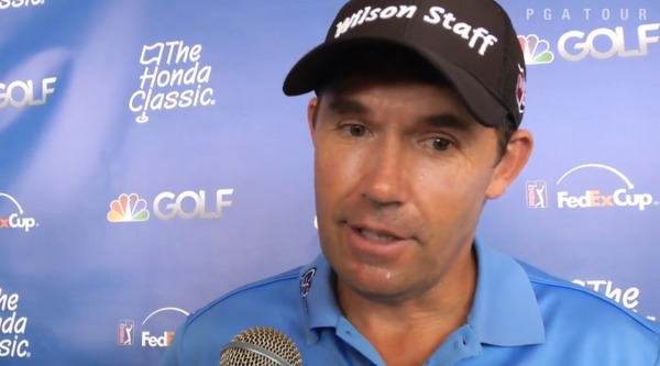 Pádraig Harrington speaks to the media after his second round
