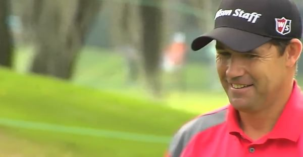 Pádraig Harrington allows himself a wry smile after making a birdie in the opening round ofthe Valspar Championship. Picture via PGA TOUR