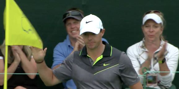 Rory McIlroy after chipping in for birdie at the 17th
