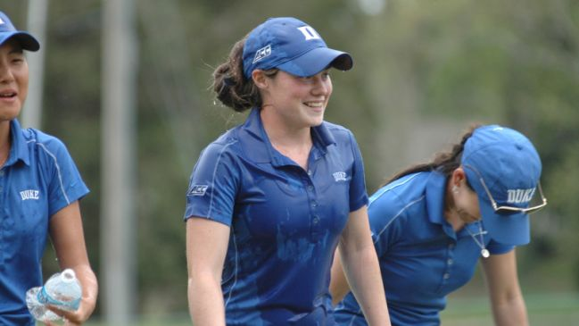 Leona Maguire was soaked by team mates following here sudden-death play-off win in theACC Individual Championship in Greensboro. Picturecourtesy: Lindy Brown, Duke Sports Information