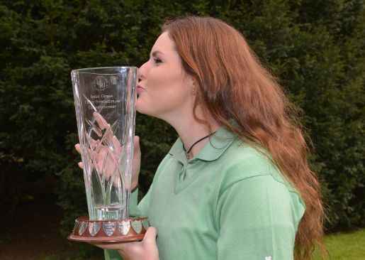 Winner for the third year in a row, Olivia Mehaffey (Royal County Down Ladies) with the 2015 Irish Under 18 Girl's Open Strokeplay trophy. Picture by  Pat Cashman Photography