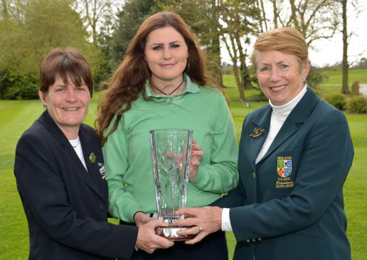 2015 Irish Girls Open Champion, Olivia Mehaffey (Royal County Down Ladies) with Aine Derham (Lady Captain, Roganstown Golf Club) and Valerie Hassett (ILGU President). Picture by  Pat Cashman Photography