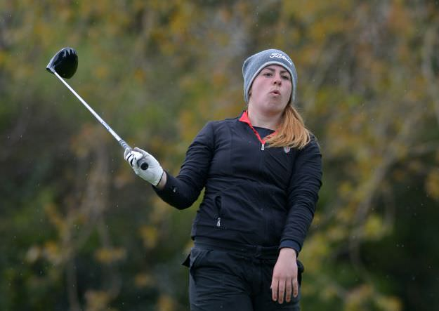 Mary Doyle (Scoil Chriost Ri, Portlaoise) driving at the 18th in the 2015 Irish Schools Senior & Junior Cup Finals at Milltown Golf Club. Picture by  Pat Cashman