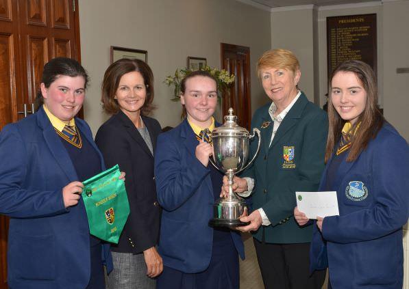 Valerie Hassett presenting Niamh McSherry (St Michael's Grammar School, Lurgan) with the Senior Cup. Also in the picture (from left) Niamh Ward, Niamh McMurrough and Eadaoin Ward.  Picture by  Pat Cashman