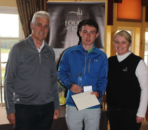 Athlone's Sean Doyle with Andy Lott (left) from the Faldo Series and Lough Erne's PGA professional Lynn McCool.