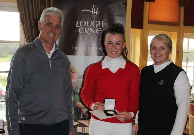 Forrest Little's Julie McCarthy with Andy Lott and Lough Erne's PGA professional Lynn McCool.
