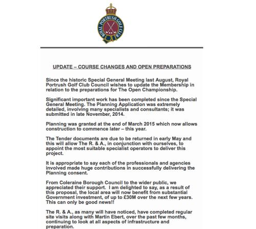 The members of Royal Portrush are being kept right up to date with the changes to their course.  Click to expand