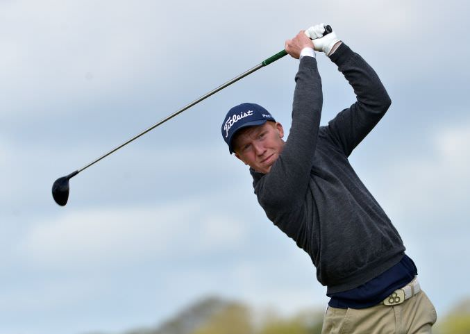 Gavin Moynihan (The Island) driving fromthe 8th tee in the first round of the 2015 Irish Amateur Open Championship at The Royal Dublin Golf Club. Picture by  Pat Cashman