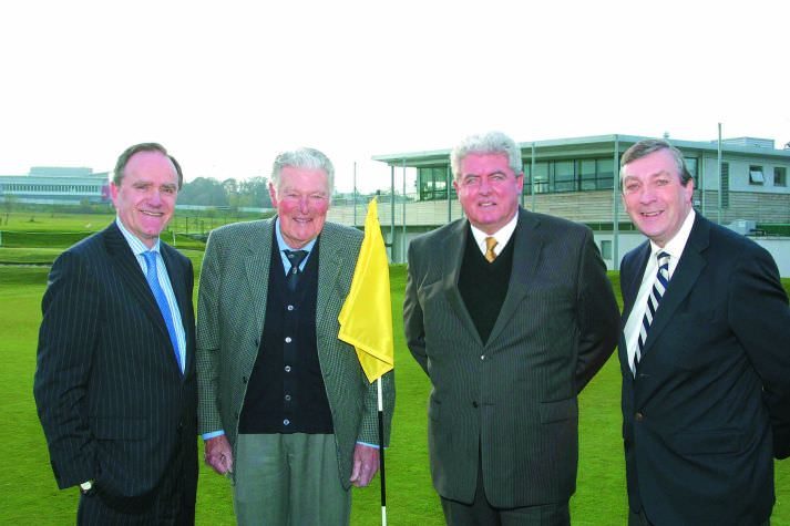 The Leopardstown Golf Centre celebrated John Jacobs' career at a special tribute evening in 2008. Matt O'Dwyer, left (HRI) and Joe O'Connor, right (Leopardstown Golf Centre) are seen greeting the illustrious guest of honour and former Irish Open champion John O'Leary on their arrival.