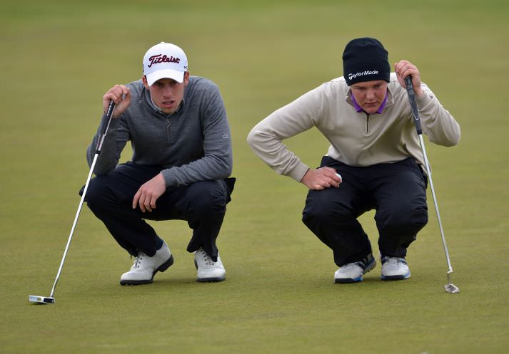 Alex Gleeson (Castle) and John Ross Galbraith (Whitehead) lining up their putts on the 9th green in the CityNorth Hotel sponsored East of Ireland Championship at County Louth Golf Club (01/06/2015). Picture by  Pat Cashman