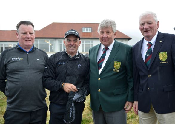Paul McGinley, Winner of the 1991 Mullingar Scratch Trophy pictured with Peadar Conlon (Sponsor, Mullingar Electrical), Brian Reidy (President, Mullingar Golf Club) and Michael Duffy (Captain Mullingar Golf Club). The 2015 Mullingar Electrical Scratch Cup takes place on Sunday 2nd and Monday 3rd August. Picture by Pat Cashman