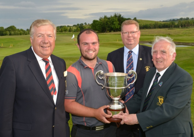 John Ferriter (Chairman, Leinster Golf) presenting Jordan Hood (Galgorm Castle) with the 2015 Leinster Youths Amateur Open Championship trophy after his victory at Charlesland Golf Club today (17/06/2015). Also in the picture are Brendan O'Brien (President, Charlesland Golf Club) and Tony Fitzpatrick (Captain, Charlesland Golf Club). Picture by  Pat Cashman