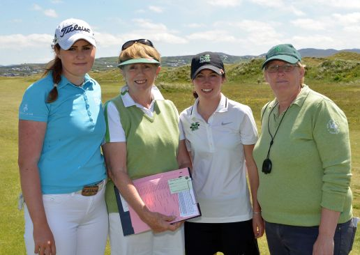 Olivia Mehaffey, ILGU President Valerie Hassett, Sarah Helly and referee Tracey Spence befor the final. Picture  Pat Cashman