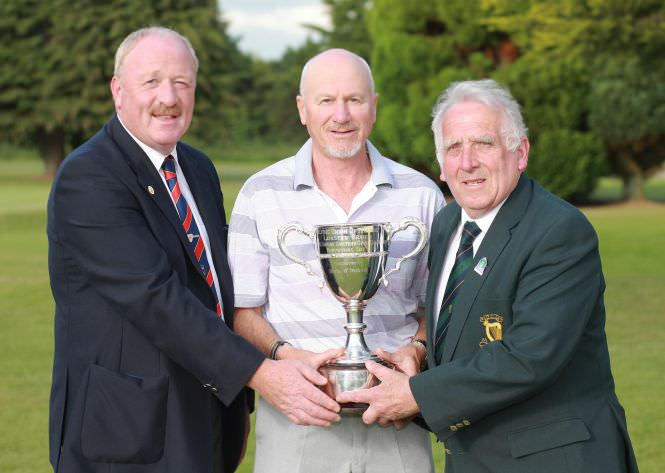 Nigel Duke,(Killiney Golf Club) winner of the Leinster Seniors Amateur Open Championship with Enniscorthy Golf club captain Tommy Cooper and Leinster Branch Chairman John Ferriter at Enniscorthy Golf Club.Picture:Ronan Lang