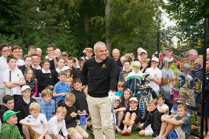 Paul McGinley during a clinic at  Grange Golf Club