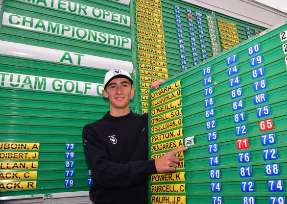 Course record 65 and leader.Adrien Pendaries (France) after the third round of the 2015 Irish Boys Amateur Open Championship at Tuam Golf Club. Picture by  Pat Cashman