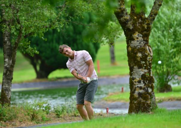 Barry Fitzpatrick (Castle) playing his third shot to the 8th green during the third round of the 2015 Irish Boys Amateur Open Championship at Tuam Golf Club.Picture by Pat Cashman