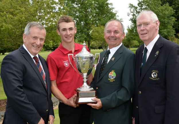 Michael Connaughton (President, GUI) presenting Adrien Pendaries (France) with the 2015 Irish Boys Amateur Open Championship trophy after his victory at Tuam Golf Club today (26/06/2015). Also in the picture are Rory O'Connor (Captain, Tuam Golf Club) and Jim McGovern (Chairman, Connacht Branch, GUI). Picture by Pat Cashman