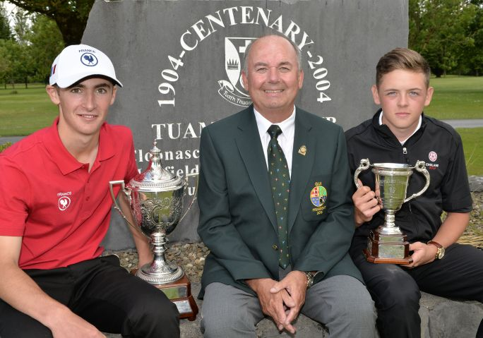Michael Connaughton (President, GUI) pictured with Adrien Pendaries (France) after his victory in the 2015 Irish Boys Amateur Open Championship and Oliver Clarke (England) winner of the Under 17 Championship at Tuam Golf Club today (26/06/2015). Picture by Pat Cashman