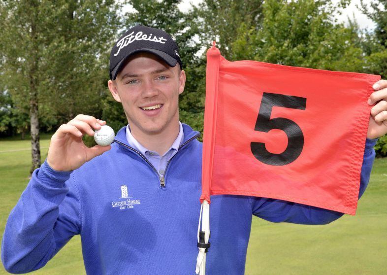 Marc Boucher (Carton House) after holing in one at the 5th hole in the final round of the 2015 Irish Boys Amateur Open Championship at Tuam Golf Club today (26/06/2015). Picture by Pat Cashman