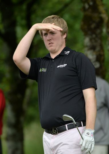 Michael Ryan (New Ross) watching his drive on the 16th tee during the final round of the 2015 Irish Boys Amateur Open Championship at Tuam Golf Club. Picture by Pat Cashman