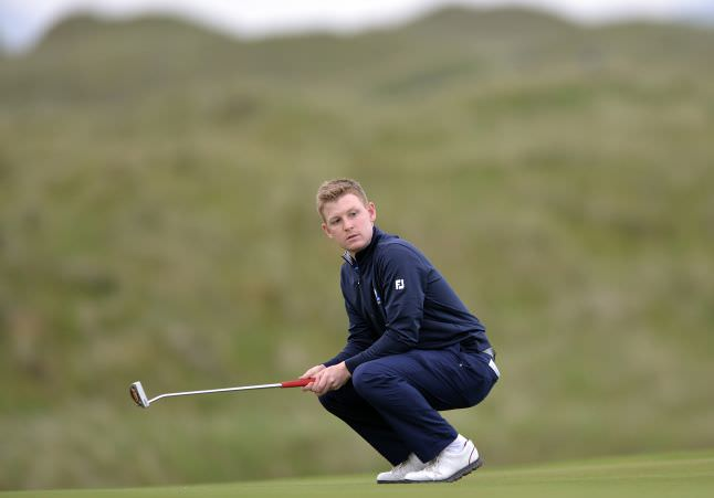 Geoff Lenehan (Munster) reacts to a missed putt on the first day of the 2015 Interprovincial Championship at Rosapenna Golf Club.Picture by Pat Cashman