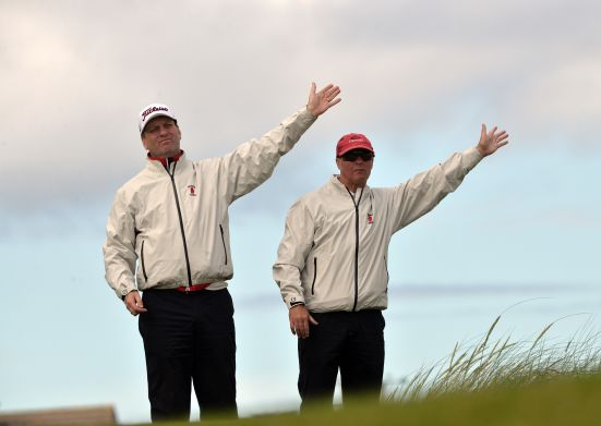 Ulster Team management Colm Murphy and Shane Magee directing ball spotters during the second day of the 2015 Interprovincial Championship at Rosapenna Golf Club.Picture by Pat Cashman
