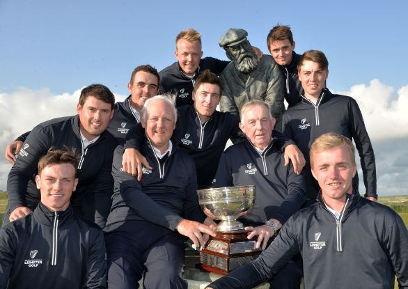 Old Tom and the Young guns. Seamus McParland (Team Captain) and Jerome Clancy (Team Manager) with the victorious Leinster Team (from left) Rowan Lester, Richard Bridges, Alan Lowry, Paul McBride, Jeff Hopkins, Conor O'Rourke, Kevin Le Blanc and Thomas Mulligan surround the statue of Old Tom Morris at the 2015 Interprovincial Championship at Rosapenna Golf Club today (08/07/2015). Picture by  Pat Cashman
