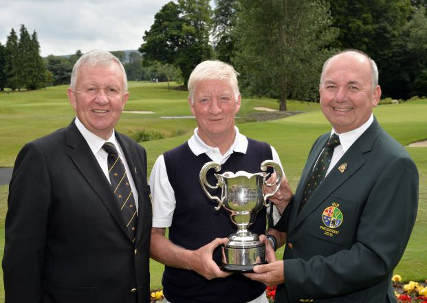Michael Connaughton (President, Golfing Union of Ireland) presenting Maurice Kelly (Naas) with the Irish Seniors Amateur Close Championship trophy after his victory at Grange Golf Club. Also in the picture is Paul Muldowney (Captain, Grange Golf Club). Picture by  Pat Cashman