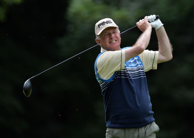 Runner-up Tom Cleary (Cork) driving at the 17th hole during the final round of the Irish Seniors Amateur Close Championship at Grange Golf Club. Picture by  Pat Cashman