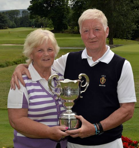 Winner Maurice Kelly (Naas) with his wife Ann after his victory at the Irish Seniors Amateur Close Championship at Grange Golf Club. Picture by  Pat Cashman