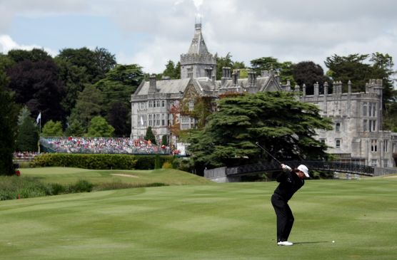 Graeme McDowell hits to the 18th at Adare Manor during the 2010 JP McManus Invitational that raised €43m for charity