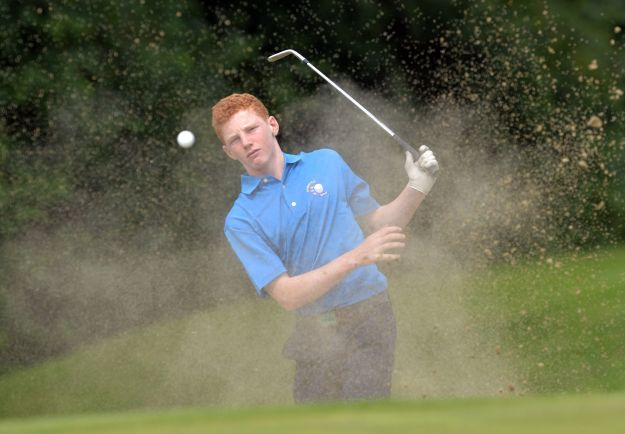 John Murphy (Munster) bunkered at the 10th green.Picture by  Pat Cashman