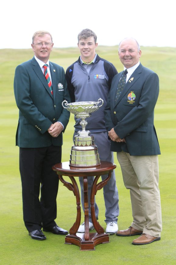 Dan O' Donovan, Captain of Lahnch Golf Club), Stuart Grehan (Tullamore) and Michael Connaughton (GUI President) before the final round of the South of Ireland Amateur Open Championship, 26th July 2015. Picture:  Golffile | TJ Caffrey