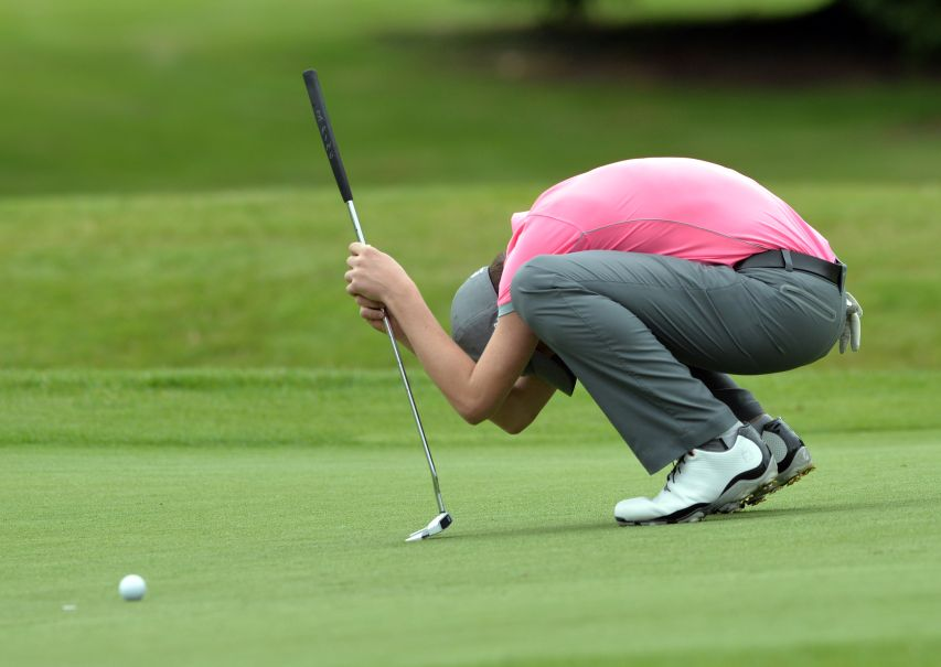 Jack Shellard (Lisburn) reacts to a missed birdie putt on the 12th green in the 2015 Irish Boys Under 14 Amateur Open Championship at Roscrea Golf Club. Picture by  Pat Cashman