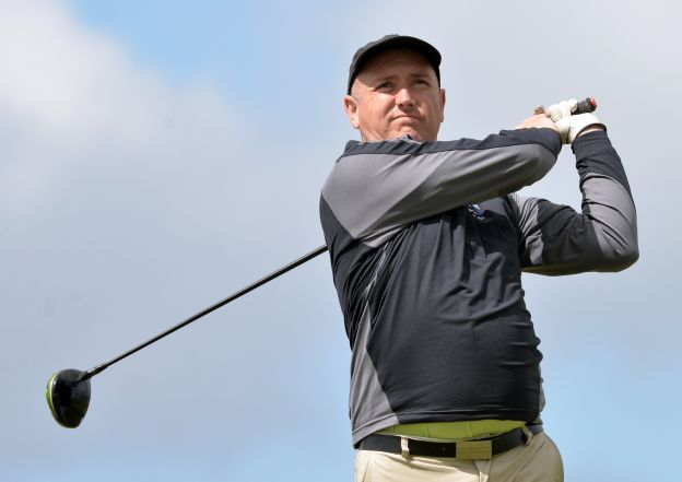 Joe Lyons, picturedduring the recentInterprovincial Championship, leads the Mullingar Electrical Scratch Trophy by two shots at halfway. Picture by  Pat Cashman