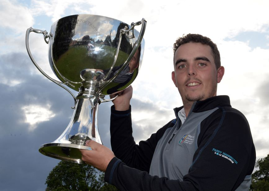 Alan Lowry (Esker Hills) with the 2015 Mullingar Electrical Scratch trophy after his victory at Mullingar Golf Club. Picture by  Pat Cashman