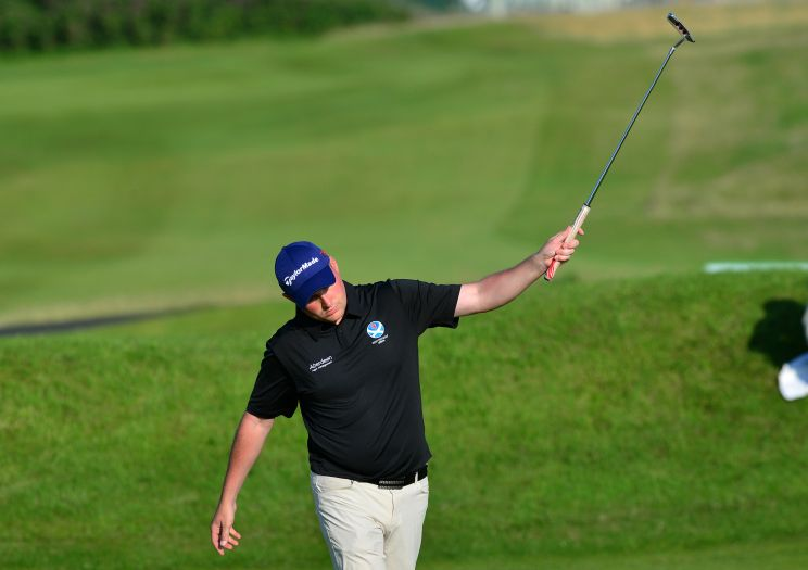 Matt Clark (Scotland) holes the winning putt at the 18th green during the second day of the 2015 Home International Matches at Royal Portrush Golf Club.Picture by  Pat Cashman