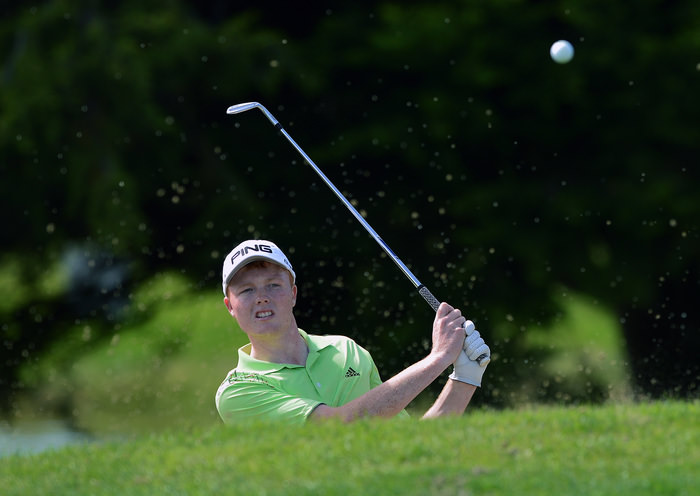 Robin Dawson (Faithlegg) bunkered at the 11th green during his quarter final match at the 2015 Irish Amateur Close Championship at Tramore Golf Club (21/05/2015). Picture by  Pat Cashman