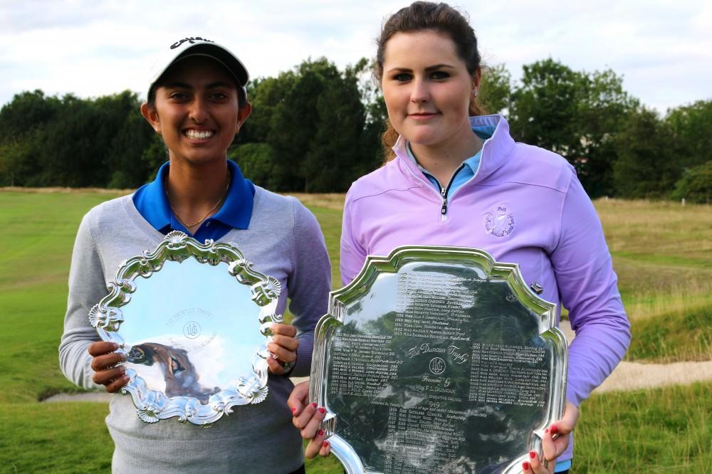 Aditi Ashok and Olivia Mehaffey with their trophies. Picture:  LGU