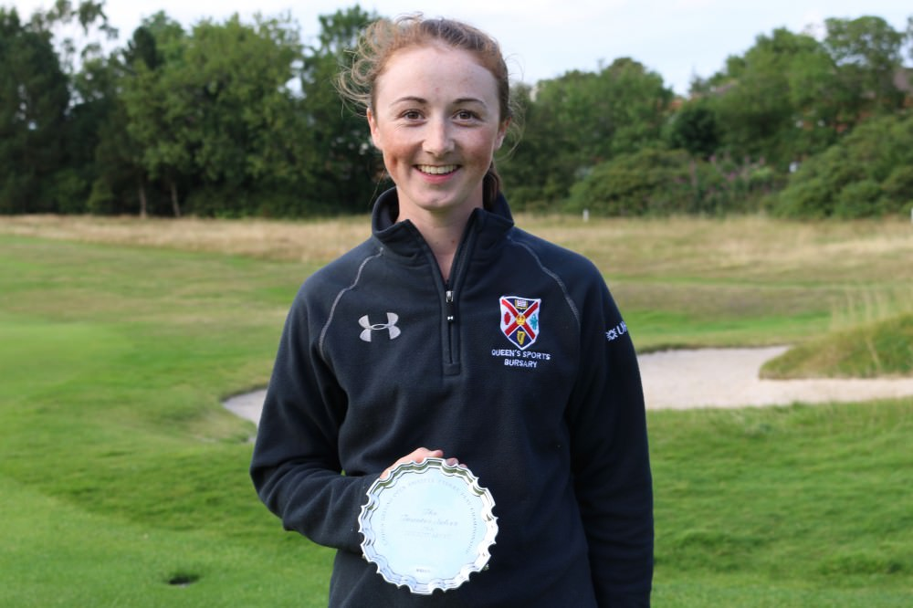 Jessica Ross with the Taunton Salver for the lowest round.Picture:  LGU