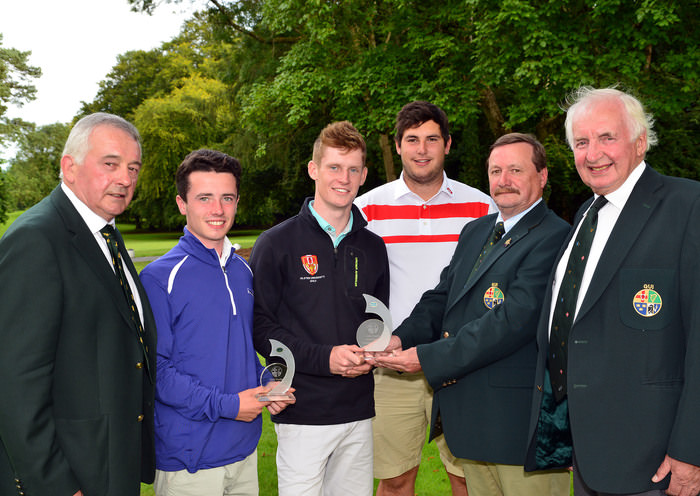 Ulster Prize Winners.......Kevin McIntyre (President Elect, GUI) presenting Ross Dutton (Tandragee), Rory Williamson (Holywood) and Stefan Greenberg (Tandragee) with their prizes at the Irish Youths Open Championship at Moyola Park Golf Club. Also in the picture are Laurence McQuillan (Captain, Moyola Golf Club) and Peter Sinclair (Chairman, Ulster Branch, GUI). Picture by  Pat Cashman