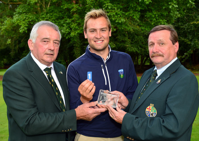 Kevin McIntyre (President Elect, GUI) presenting Jonathan Yates (Naas ) with his hole in one prize at the Irish Youths Open Championship.Picture by  Pat Cashman
