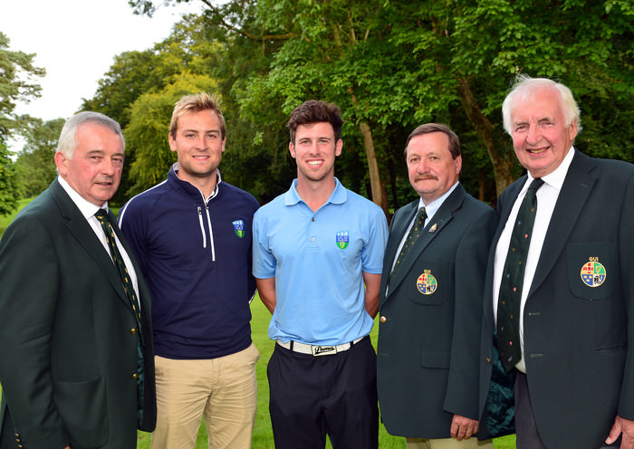Kevin McIntyre (President Elect, GUI) with Jonathan Yates and Alex Gleeson (UCD) winners of the Inter Colleges Invitational Championship. Also in the picture are Laurence McQuillan (Captain, Moyola Golf Club) and Peter Sinclair (Chairman, Ulster Branch, GUI).Picture by  Pat Cashman